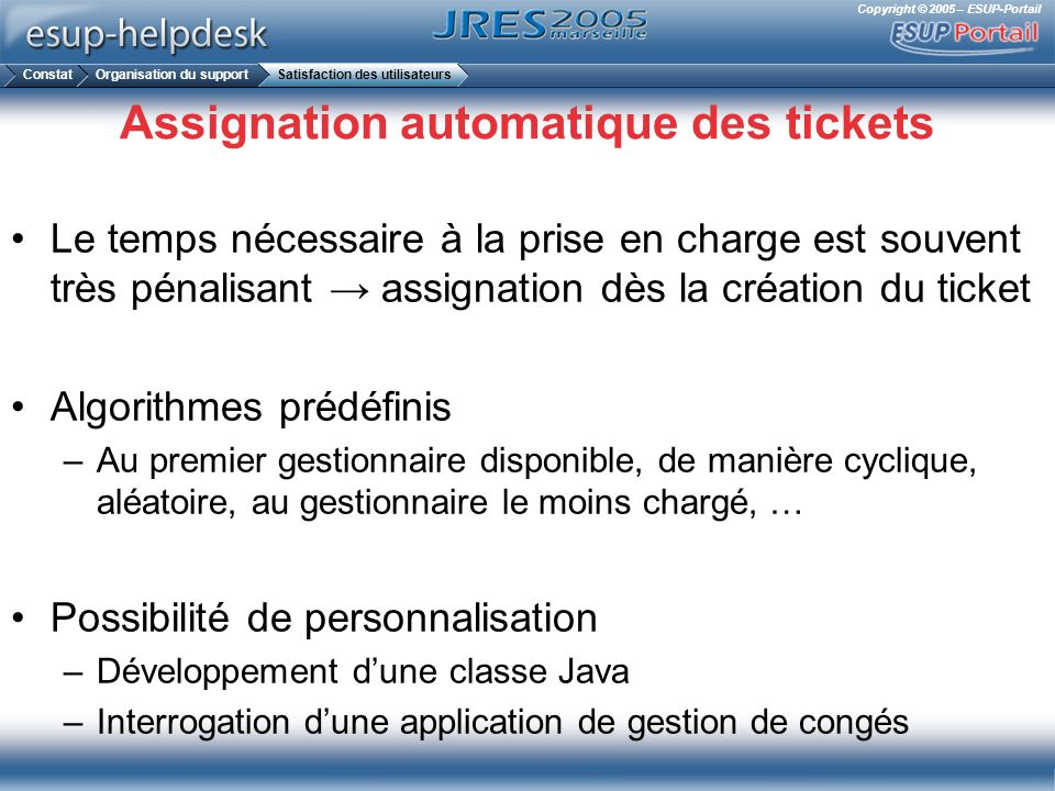 Assignation automatique des tickets