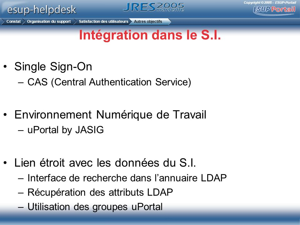 Intégration dans le S.I. Single Sign-On