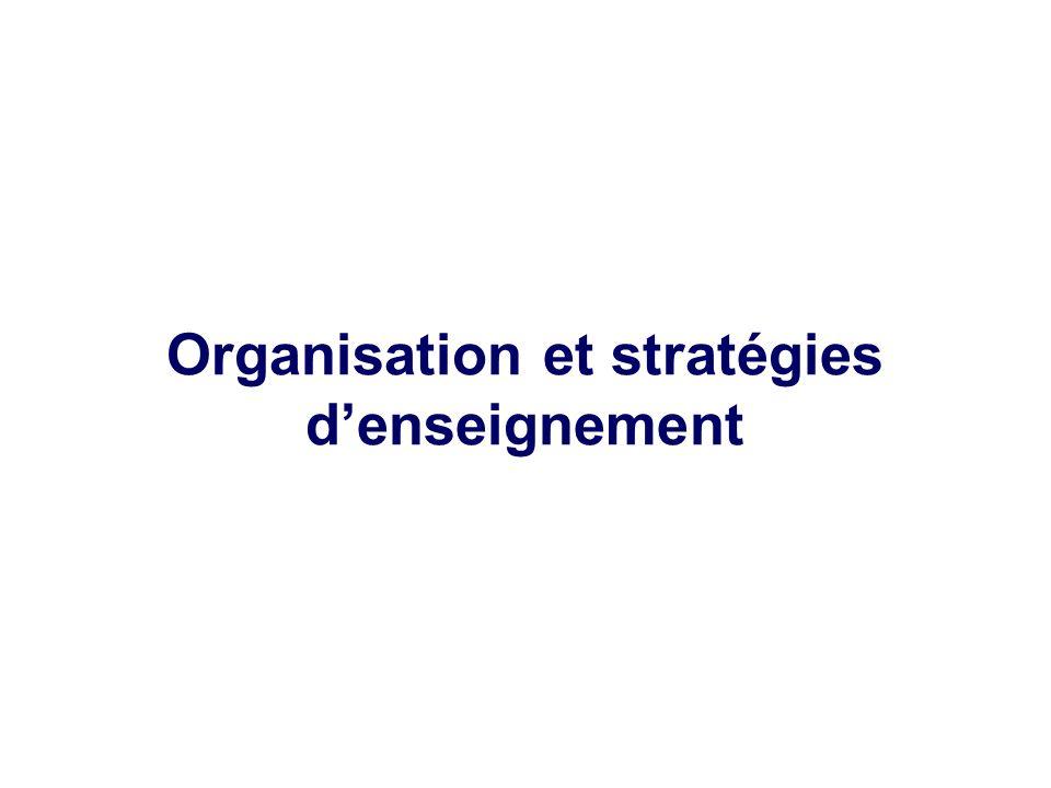 Organisation et stratégies d'enseignement