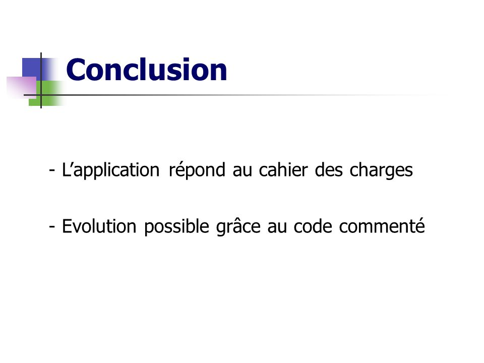 Conclusion L'application répond au cahier des charges