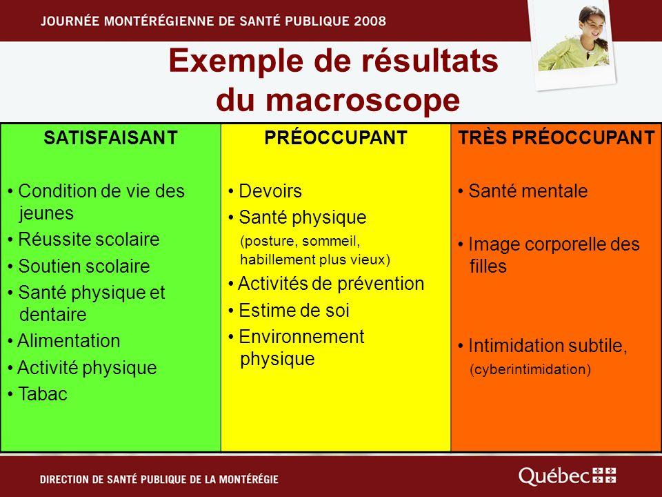 Exemple de résultats du macroscope