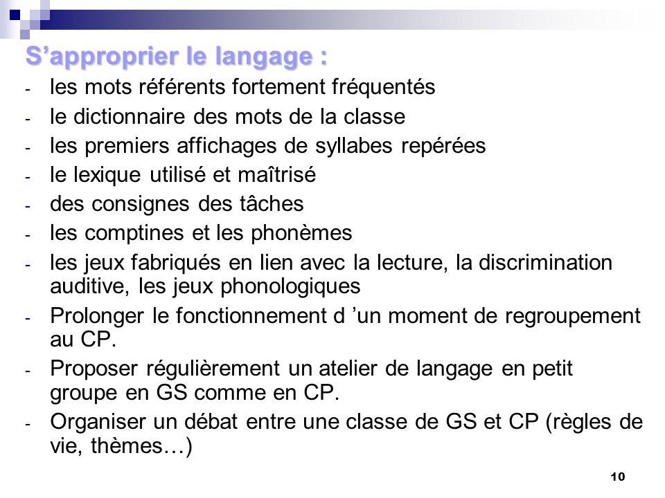 S'approprier le langage :
