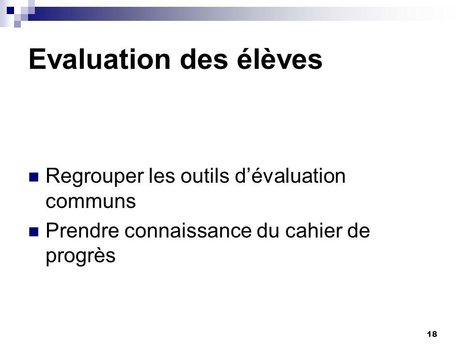 Evaluation des élèves Regrouper les outils d'évaluation communs