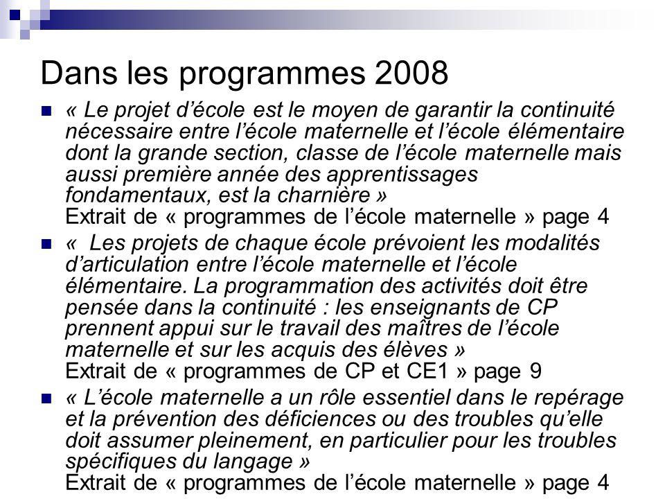 Dans les programmes 2008