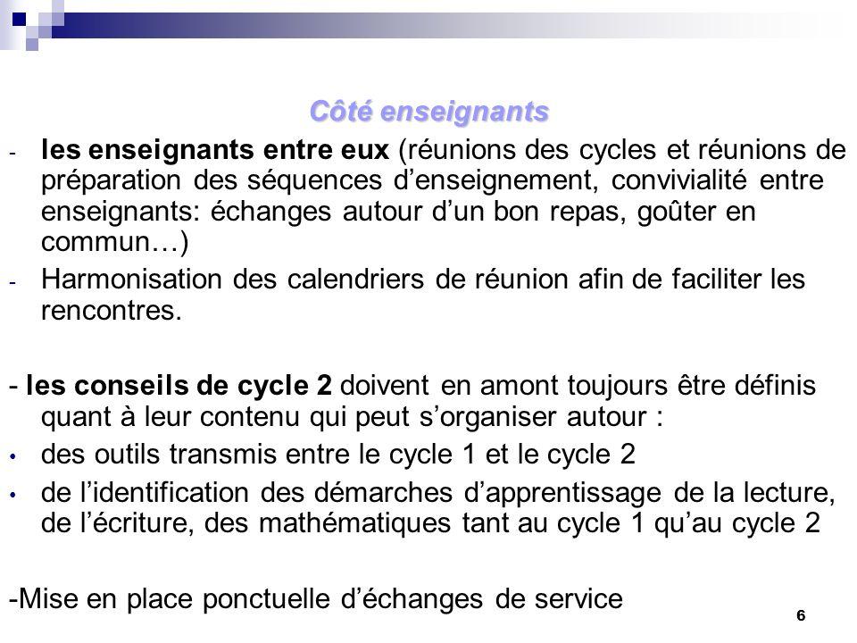 des outils transmis entre le cycle 1 et le cycle 2