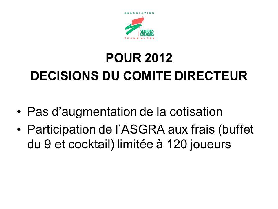 DECISIONS DU COMITE DIRECTEUR