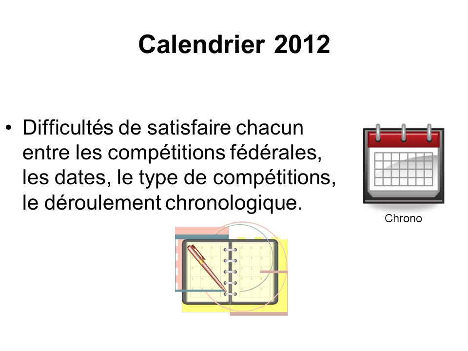 Calendrier 2012 Difficultés de satisfaire chacun entre les compétitions fédérales, les dates, le type de compétitions, le déroulement chronologique.