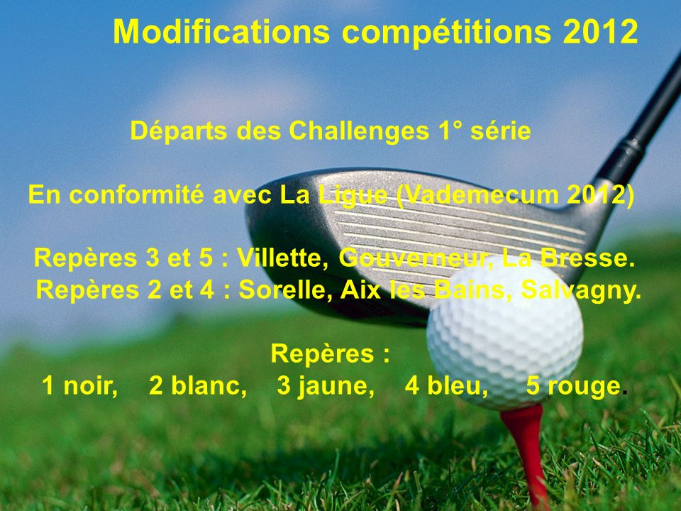 Modifications compétitions 2012