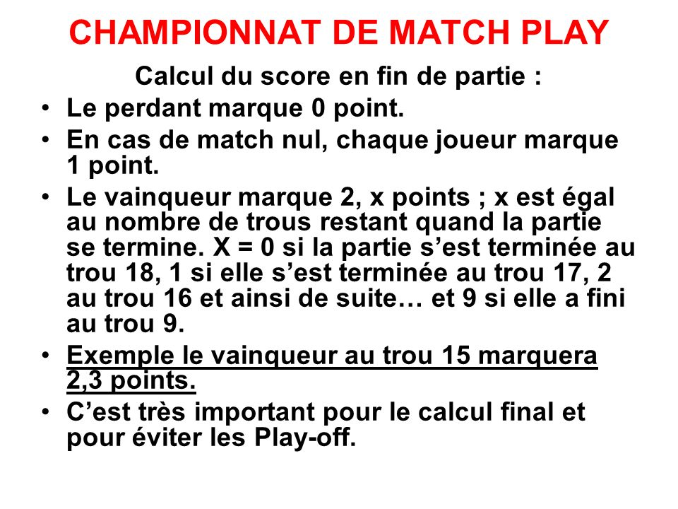 CHAMPIONNAT DE MATCH PLAY