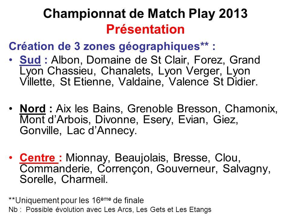 Championnat de Match Play 2013 Présentation