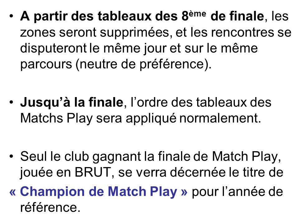 A partir des tableaux des 8ème de finale, les zones seront supprimées, et les rencontres se disputeront le même jour et sur le même parcours (neutre de préférence).
