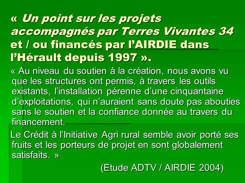 « Un point sur les projets accompagnés par Terres Vivantes 34 et / ou financés par l'AIRDIE dans l'Hérault depuis 1997 ».