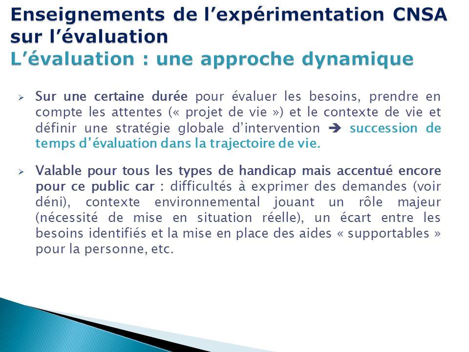 Enseignements de l'expérimentation CNSA sur l'évaluation L'évaluation : une approche dynamique