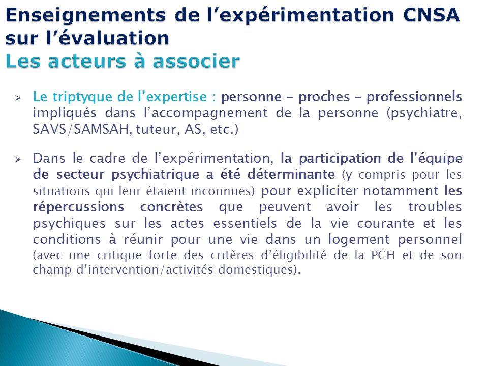 Enseignements de l'expérimentation CNSA sur l'évaluation Les acteurs à associer