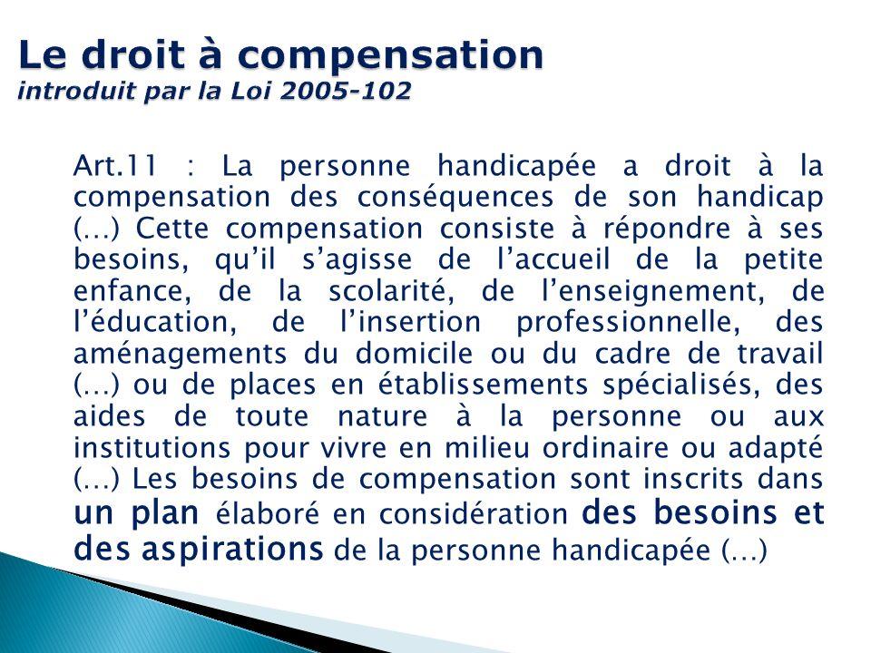 Le droit à compensation introduit par la Loi 2005-102