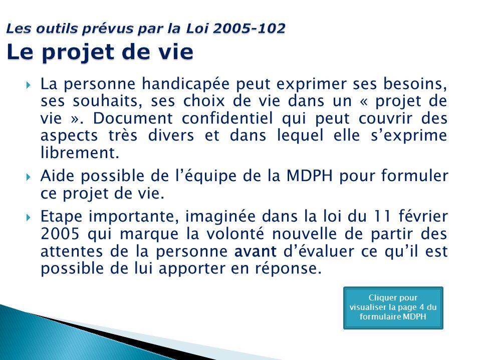 Les outils prévus par la Loi 2005-102 Le projet de vie