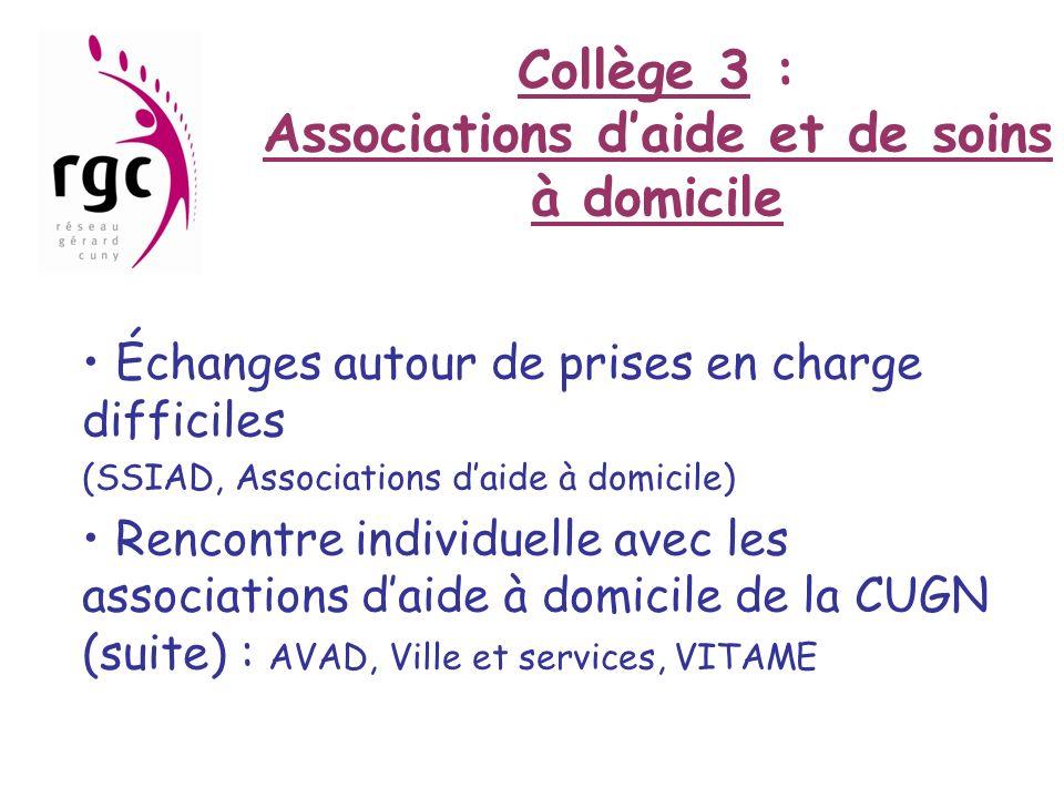 Collège 3 : Associations d'aide et de soins à domicile