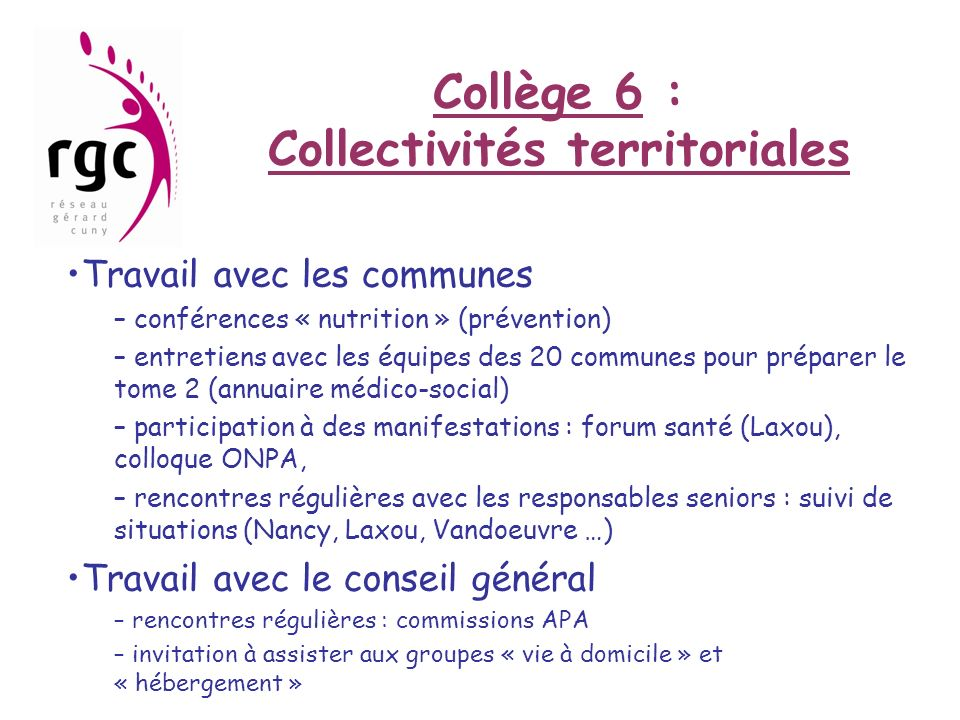 Collège 6 : Collectivités territoriales