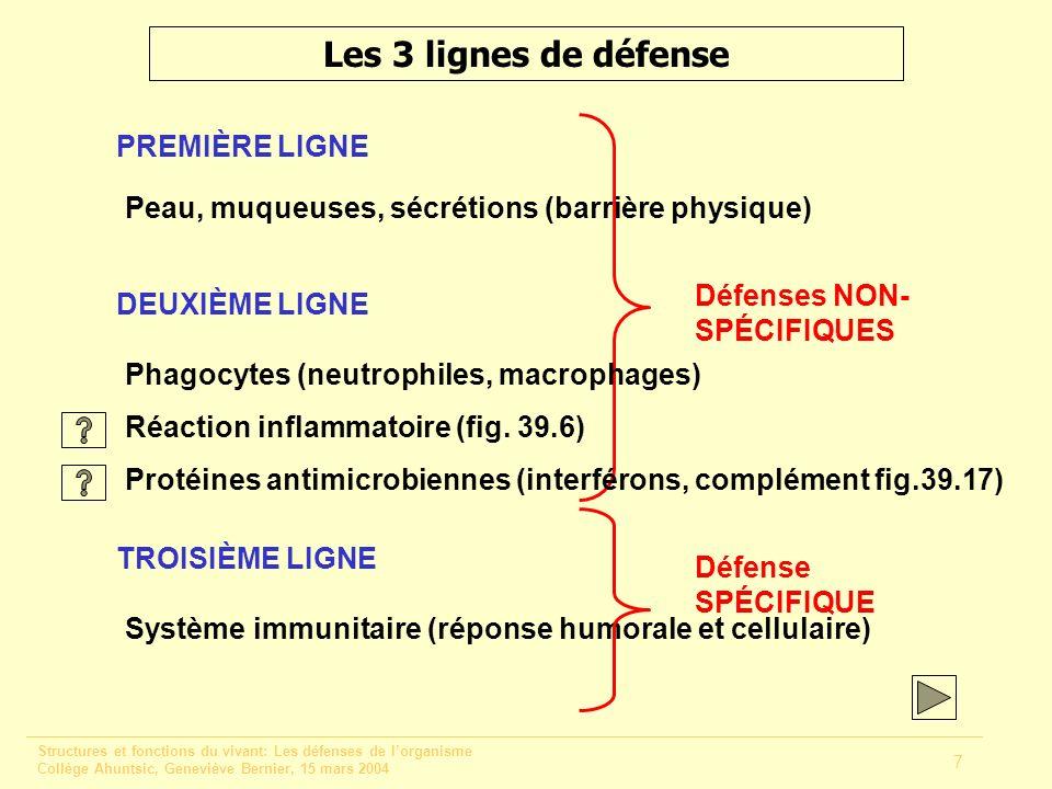 Les 3 lignes de défense PREMIÈRE LIGNE