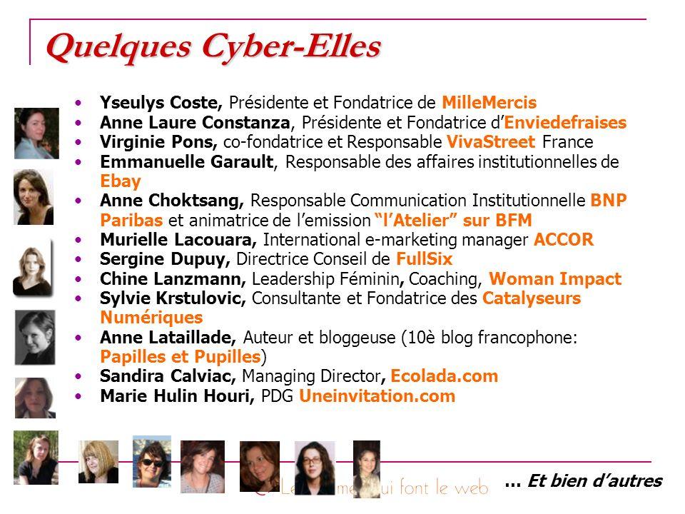 Quelques Cyber-Elles Yseulys Coste, Présidente et Fondatrice de MilleMercis. Anne Laure Constanza, Présidente et Fondatrice d'Enviedefraises.