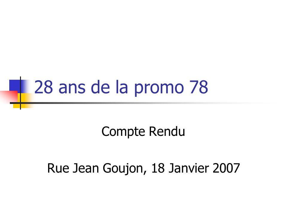 Compte Rendu Rue Jean Goujon, 18 Janvier 2007