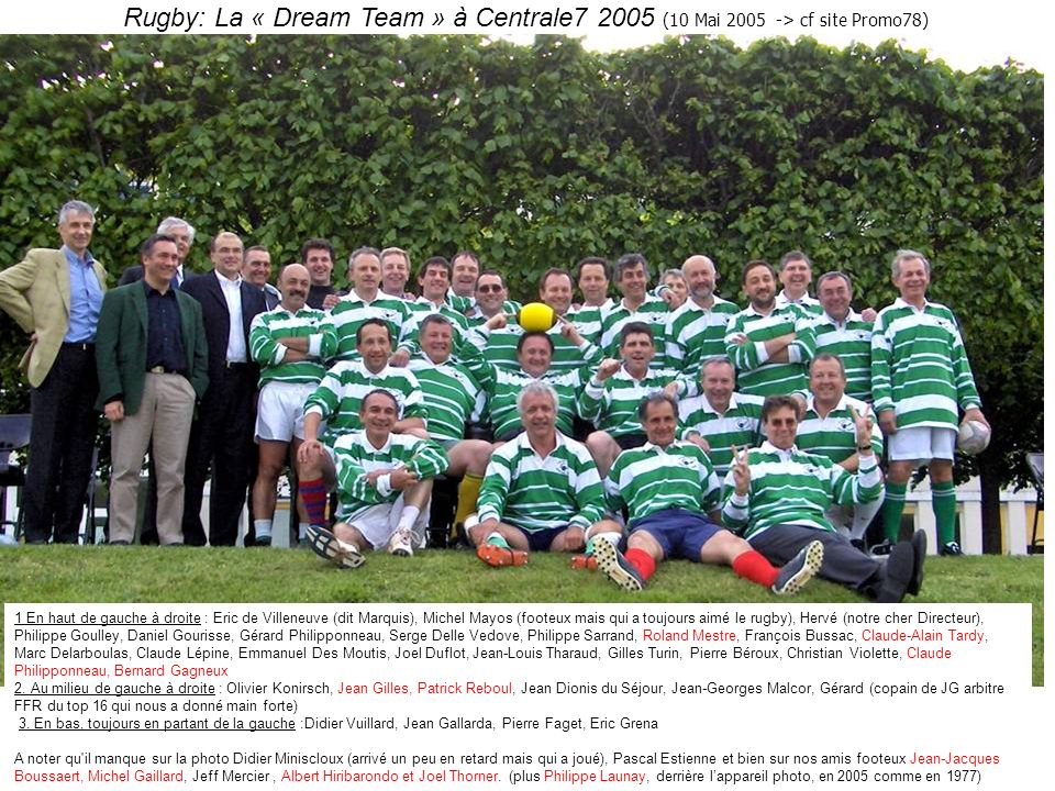 Rugby: La « Dream Team » à Centrale7 2005 (10 Mai 2005 -> cf site Promo78)