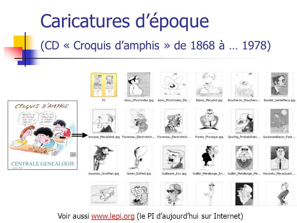 Caricatures d'époque (CD « Croquis d'amphis » de 1868 à … 1978)