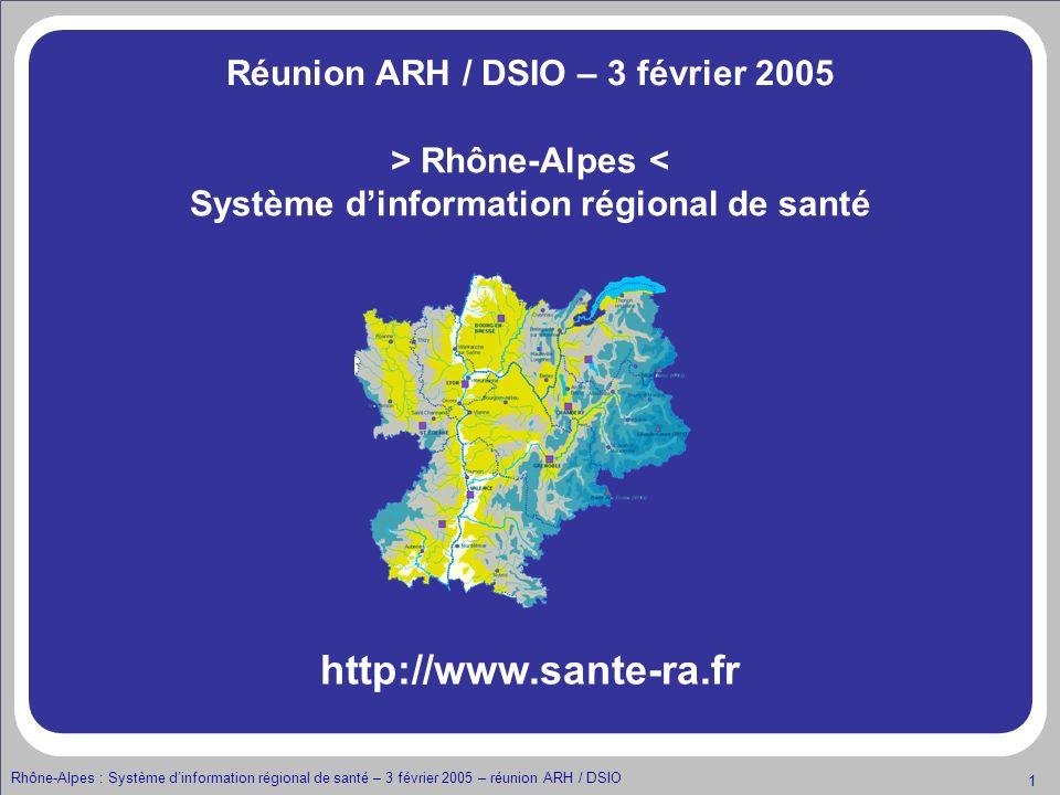 http://www.sante-ra.fr Réunion ARH / DSIO – 3 février 2005