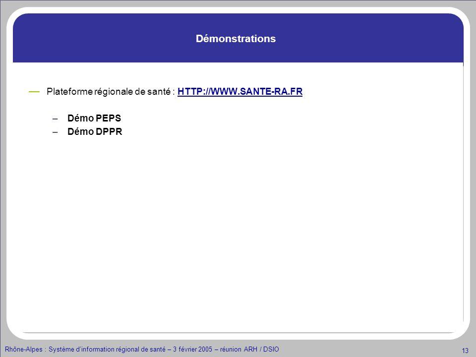Démonstrations Plateforme régionale de santé : HTTP://WWW.SANTE-RA.FR