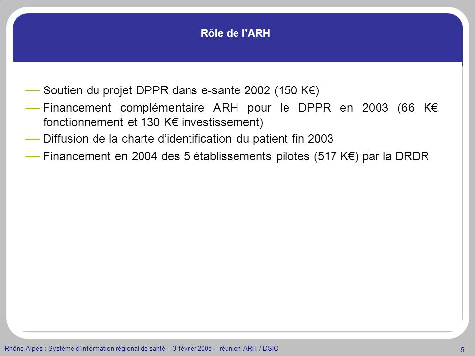 Soutien du projet DPPR dans e-sante 2002 (150 K€)