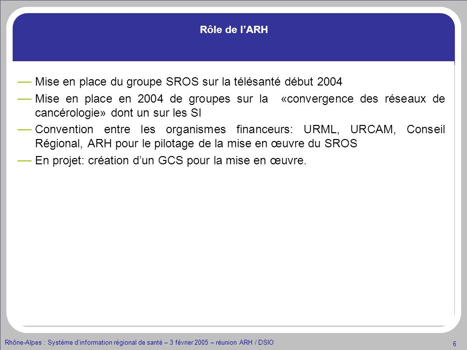 Mise en place du groupe SROS sur la télésanté début 2004