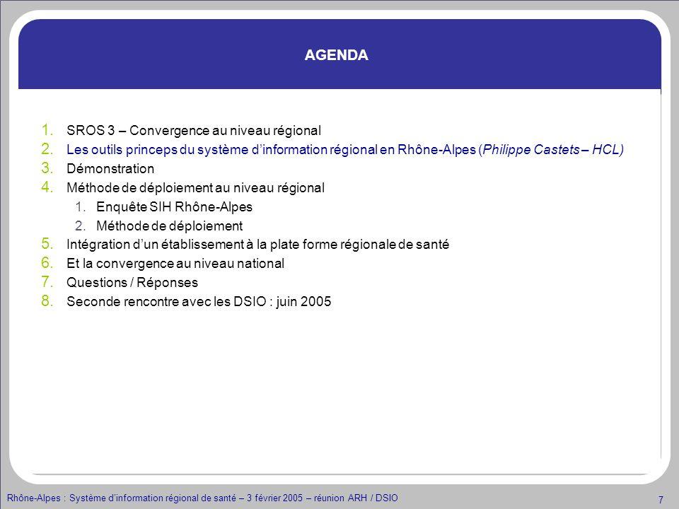 AGENDA SROS 3 – Convergence au niveau régional