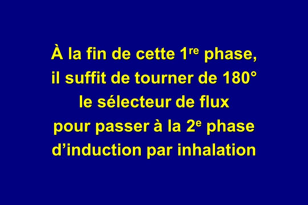 À la fin de cette 1re phase, il suffit de tourner de 180° le sélecteur de flux pour passer à la 2e phase d'induction par inhalation