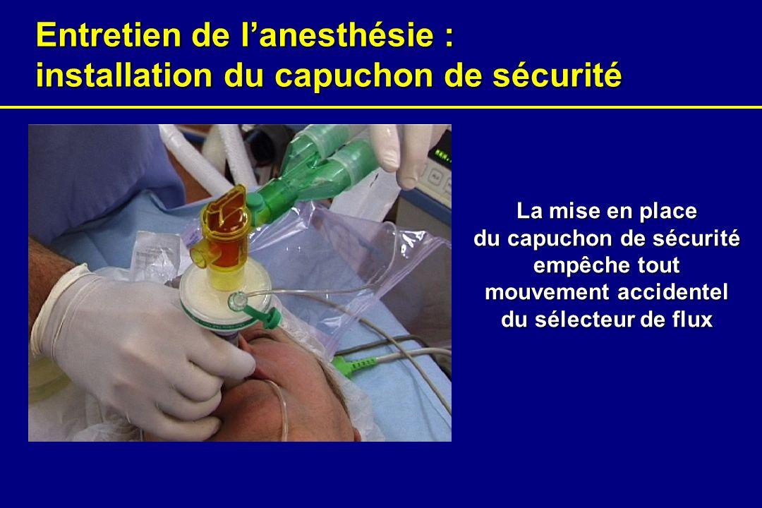 Entretien de l'anesthésie : installation du capuchon de sécurité