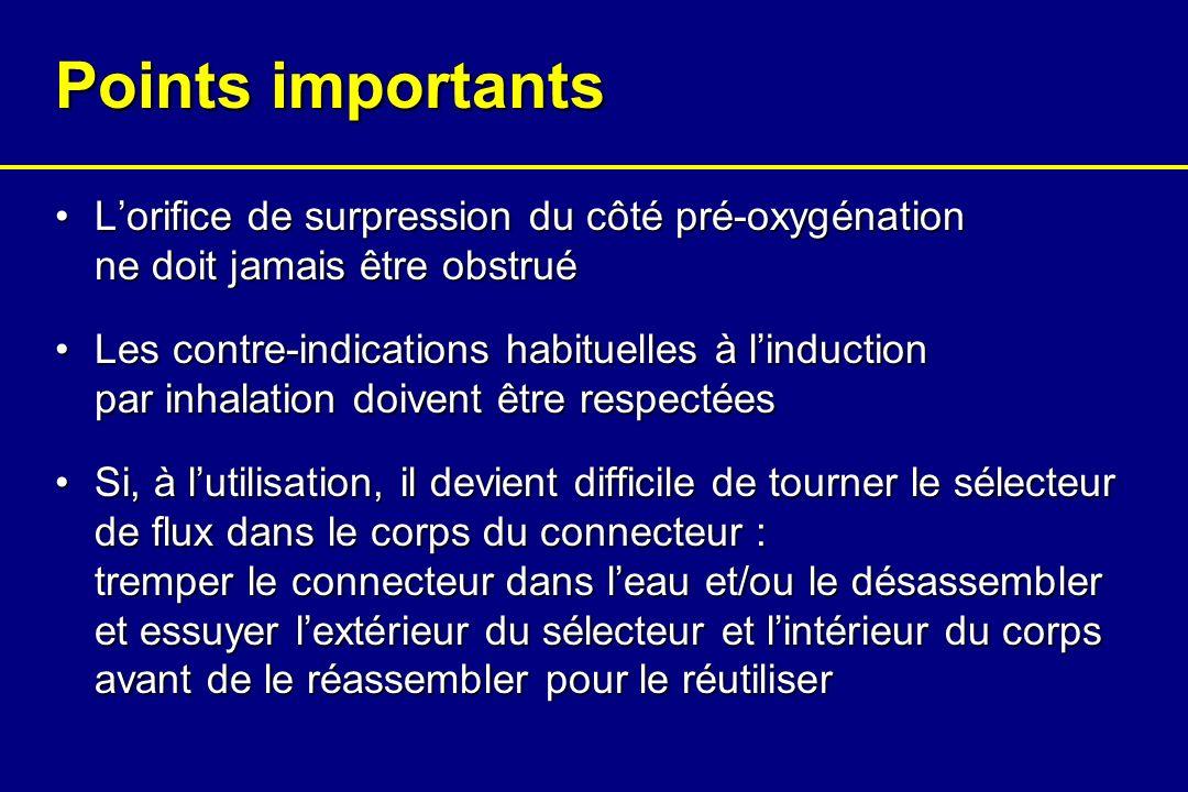 Points importants L'orifice de surpression du côté pré-oxygénation ne doit jamais être obstrué.