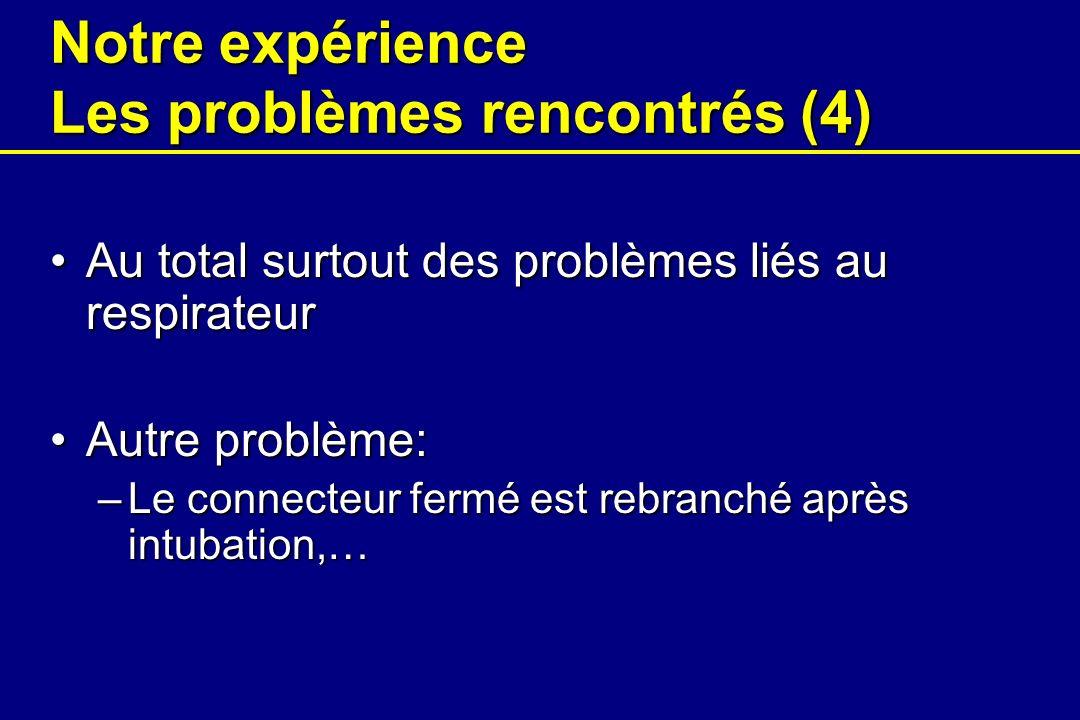 Notre expérience Les problèmes rencontrés (4)