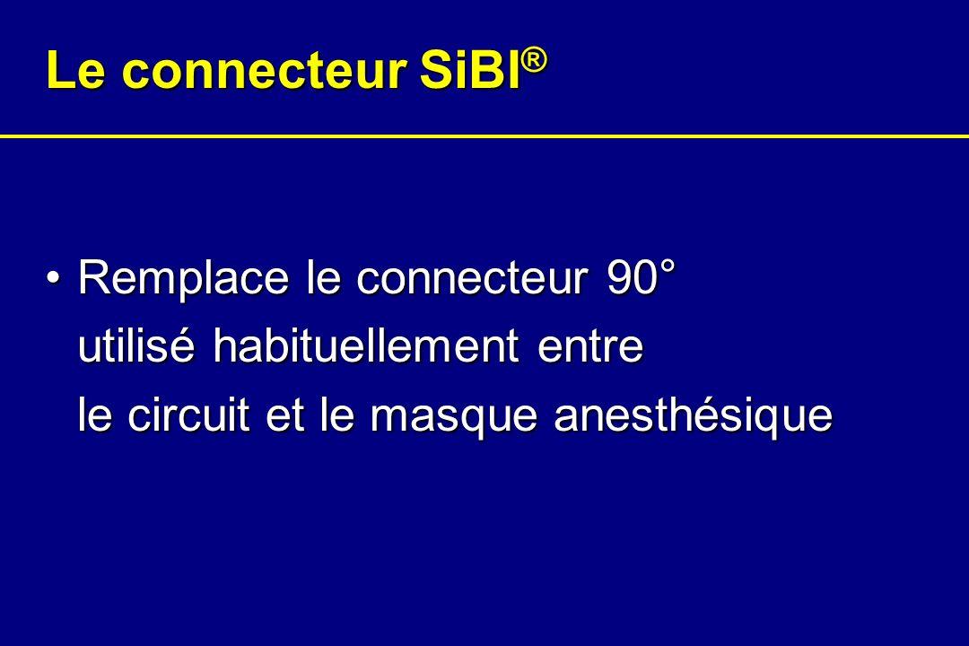 Le connecteur SiBI® Remplace le connecteur 90° utilisé habituellement entre le circuit et le masque anesthésique.