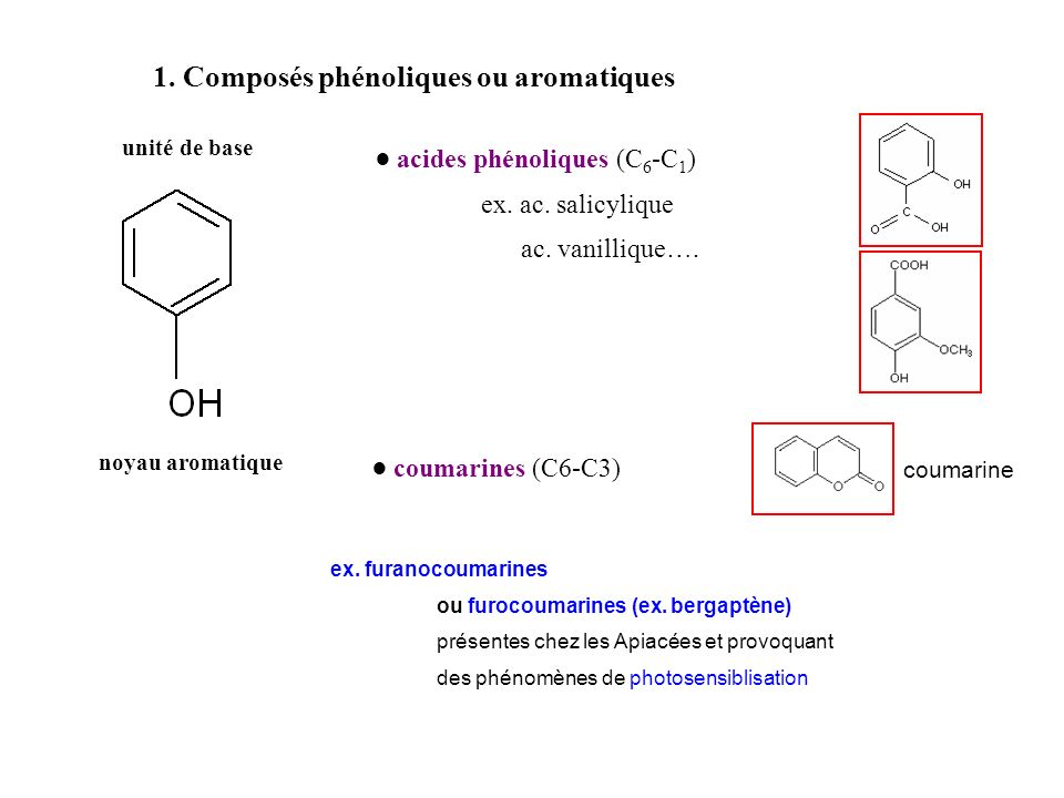 1. Composés phénoliques ou aromatiques
