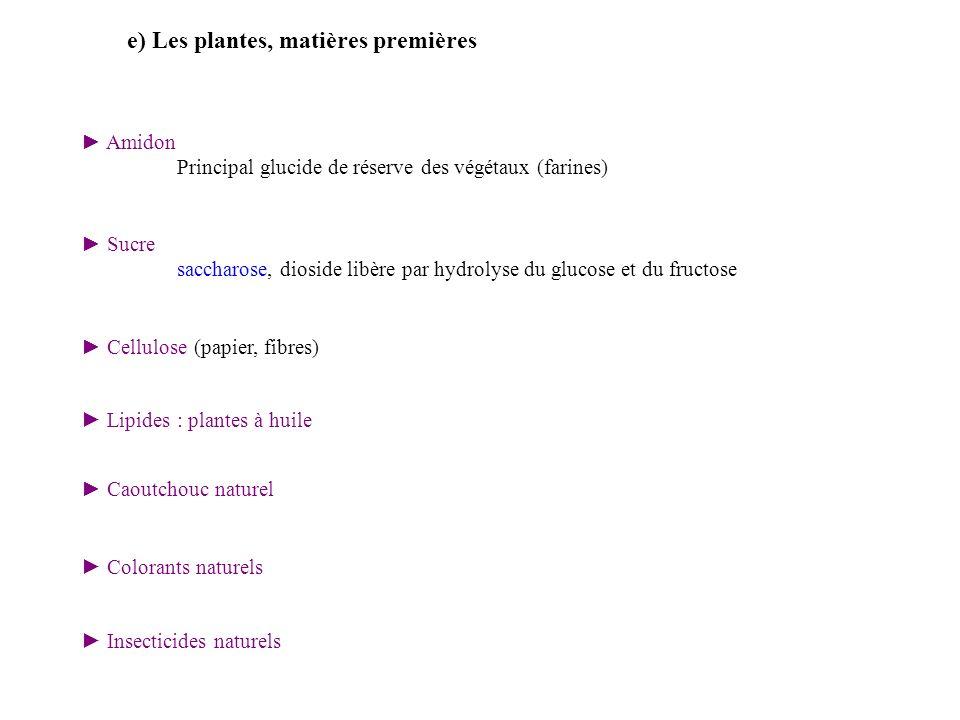 e) Les plantes, matières premières