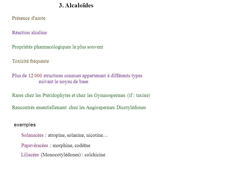 3. Alcaloïdes Présence d azote Réaction alcaline