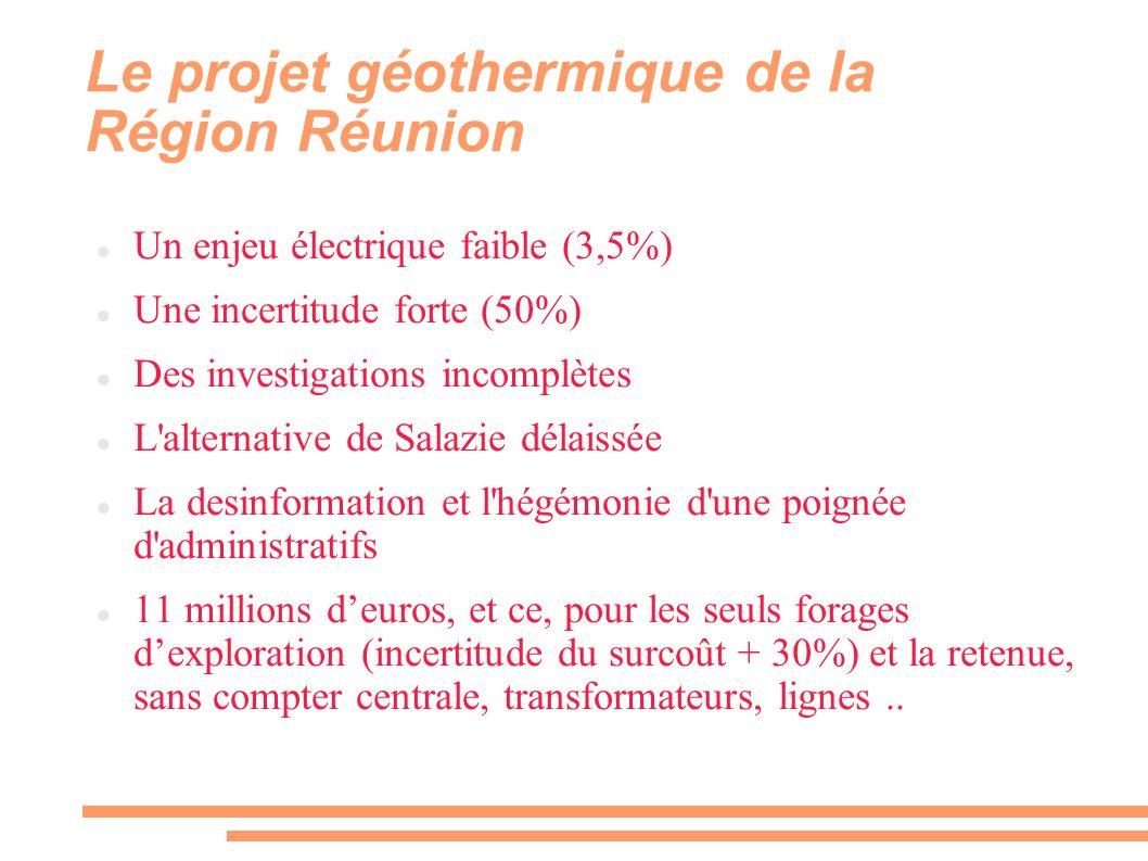 Le projet géothermique de la Région Réunion