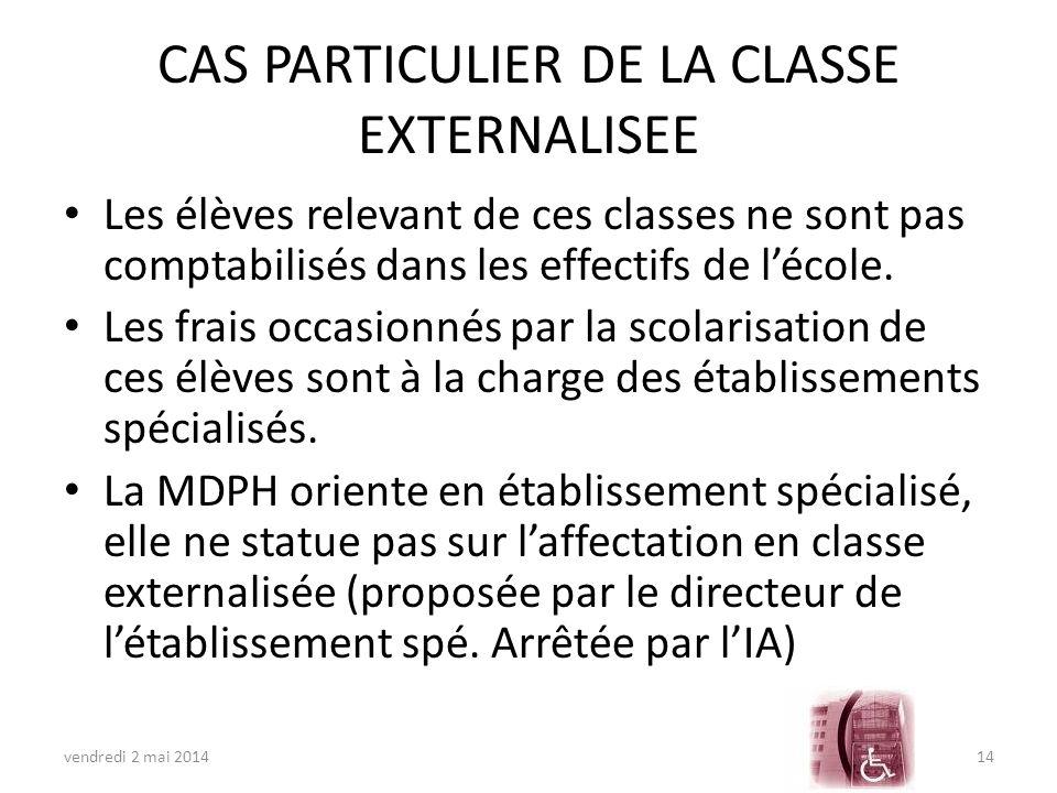 CAS PARTICULIER DE LA CLASSE EXTERNALISEE