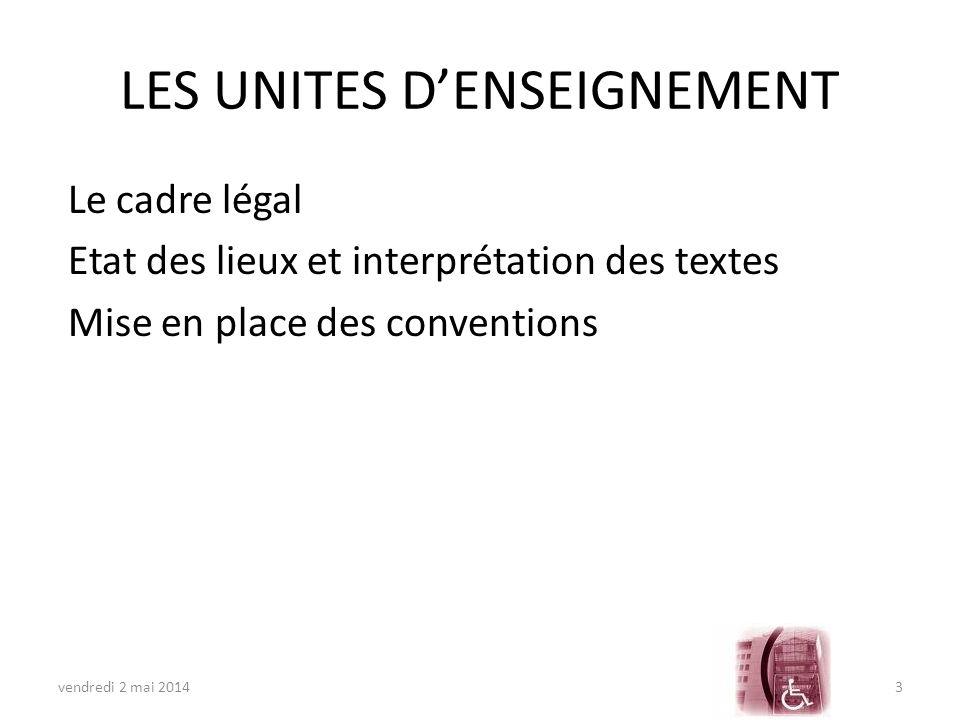 LES UNITES D'ENSEIGNEMENT