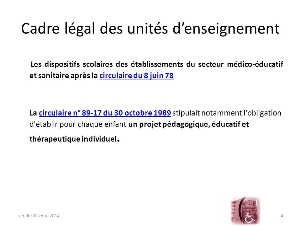 Cadre légal des unités d'enseignement