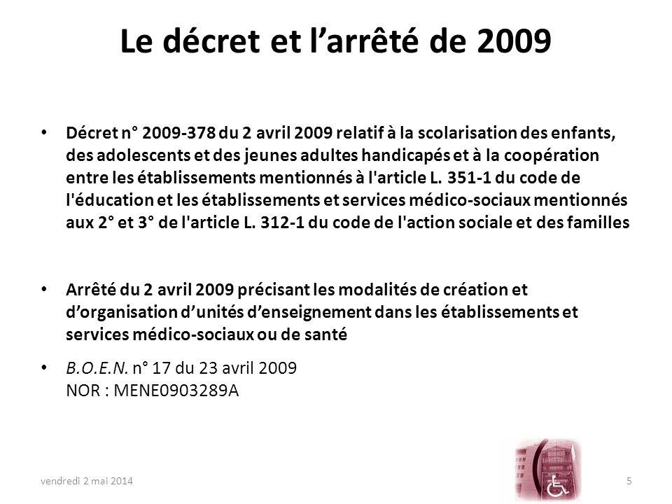 Le décret et l'arrêté de 2009