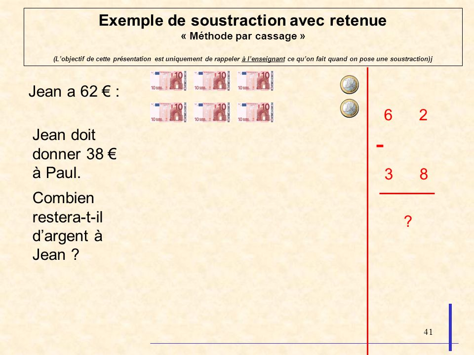 Exemple de soustraction avec retenue