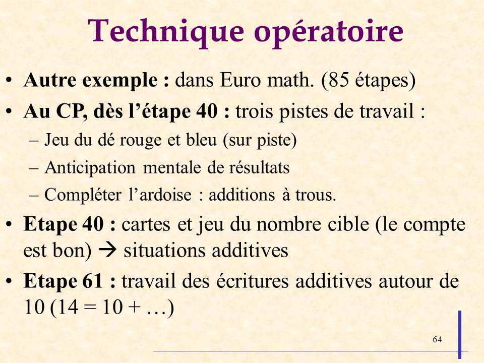 Technique opératoire Autre exemple : dans Euro math. (85 étapes)