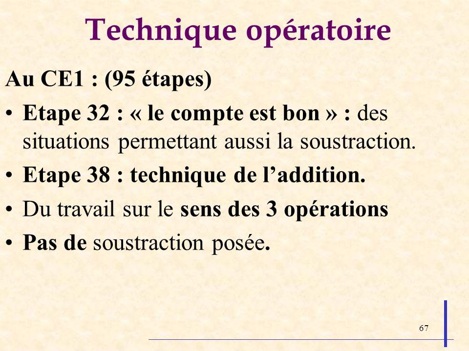 Technique opératoire Au CE1 : (95 étapes)