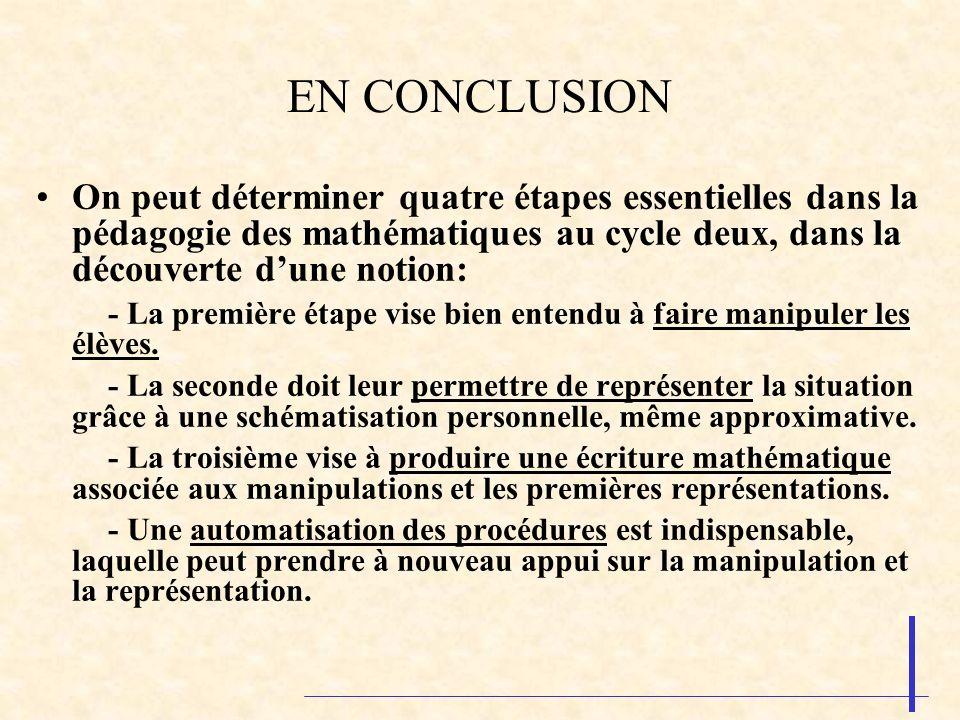 EN CONCLUSION On peut déterminer quatre étapes essentielles dans la pédagogie des mathématiques au cycle deux, dans la découverte d'une notion: