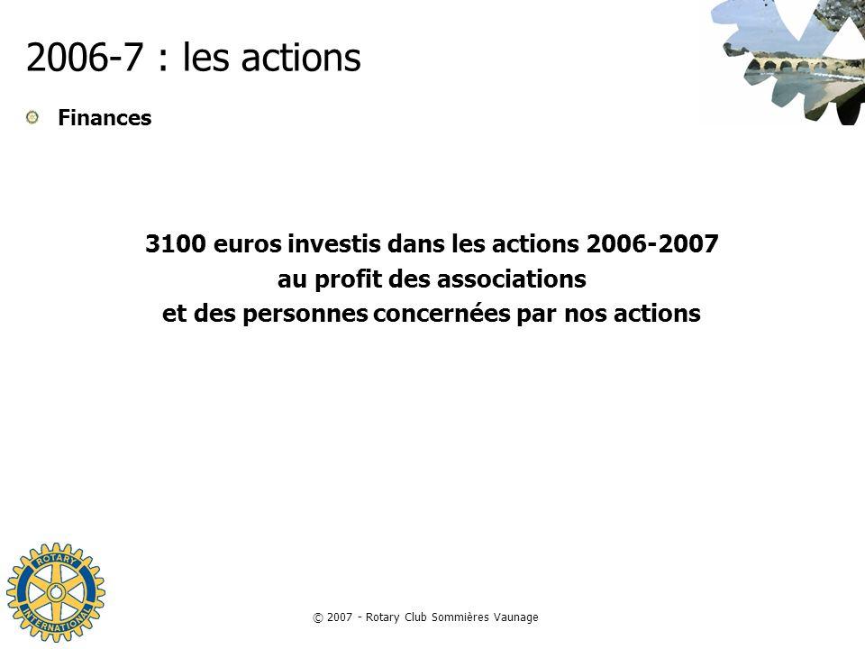 2006-7 : les actions 3100 euros investis dans les actions 2006-2007